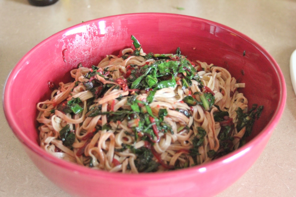 Spicy Noodles with Greens and Shallot